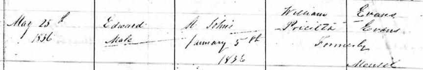 edward evans 1836 baptism