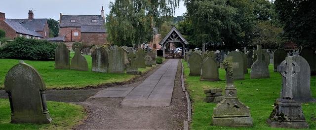 In the churchyard.