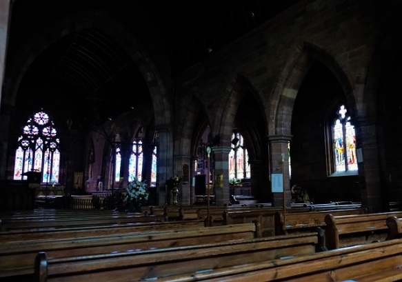 Across the nave.