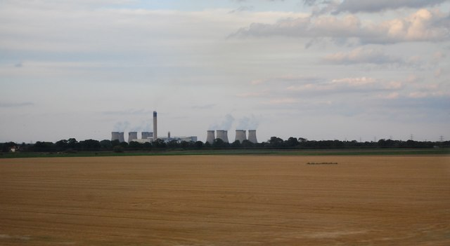 drax power station across farmland geograph N Clifford