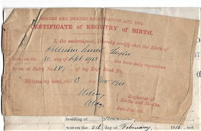 Attachment of William's registration of birth.