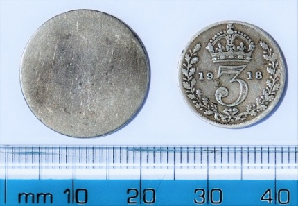 George III sixpenny and George V threepenny bits (reverse).