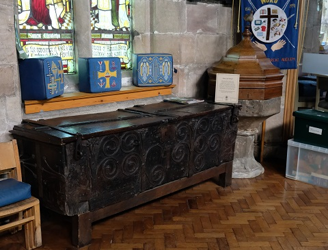 Medieval robe chest and 15th century font
